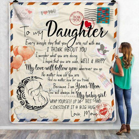 To My Dear Daughter Letter Blanket, Daughters Gift-Moon & Back