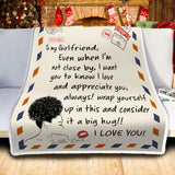 To My Girlfriend Letter Themed Blanket, Black Girls Gift-Moon & Back