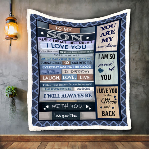 To My Son Never Forget How Much I Love You Blanket,Blanket for Son-Moon & Back