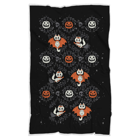White Cat Halloween Blanket, Halloween Gift-Moon & Back