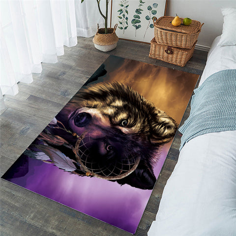 Wolf Dreamcatcher Theme Purple Brown Rectangular Rug-Moon & Back