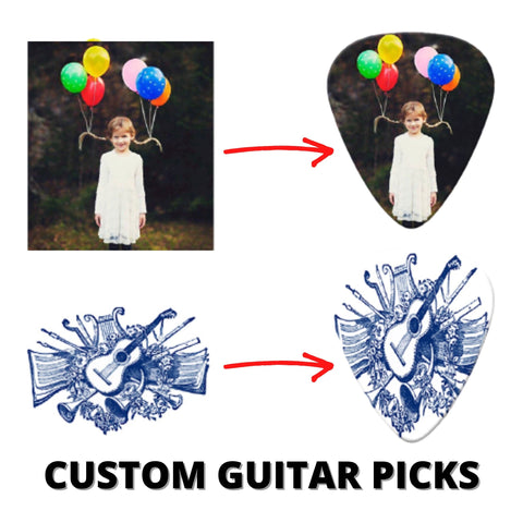 Personalized Photo Guitar Picks, Custom Guitar Picks for Christmas-Moon & Back