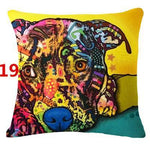 Abstract Dog Painted Style Pillow Cover-Moon & Back-19-Moon & Back