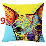 Abstract Dog Painted Style Pillow Cover-Moon & Back-9-Moon & Back