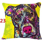 Abstract Dog Painted Style Pillow Cover-Moon & Back-23-Moon & Back