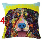 Abstract Dog Painted Style Pillow Cover-Moon & Back-4-Moon & Back