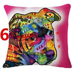 Abstract Dog Painted Style Pillow Cover-Moon & Back-6-Moon & Back