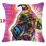 Abstract Dog Painted Style Pillow Cover-Moon & Back-18-Moon & Back