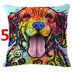 Abstract Dog Painted Style Pillow Cover-Moon & Back-5-Moon & Back