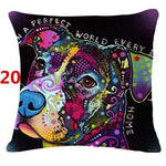 Abstract Dog Painted Style Pillow Cover-Moon & Back-20-Moon & Back