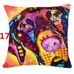 Abstract Dog Painted Style Pillow Cover-Moon & Back-17-Moon & Back