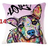 Abstract Dog Painted Style Pillow Cover-Moon & Back-14-Moon & Back