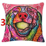 Abstract Dog Painted Style Pillow Cover-Moon & Back-3-Moon & Back