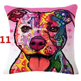 Abstract Dog Painted Style Pillow Cover-Moon & Back-11-Moon & Back