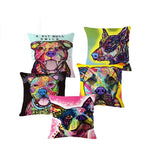 Abstract Dog Painted Style Pillow Cover-Moon & Back-1-Moon & Back