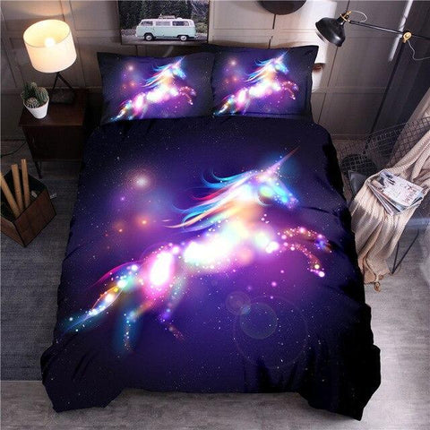 Ambilight Unicorn Printing Bedding Set-Moon & Back-Color 1-US Full (3-piece)-Moon & Back