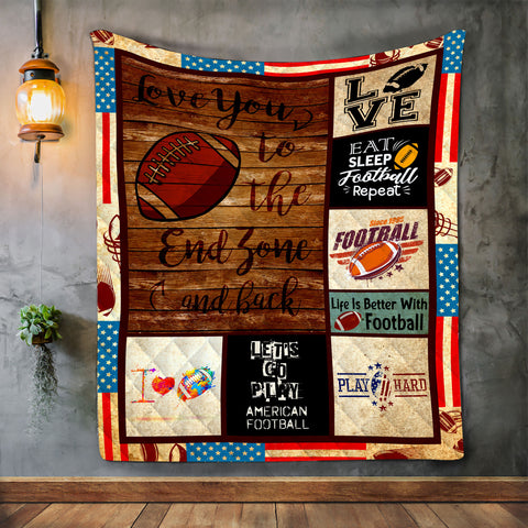 American Football Soccer Blanket, Sport Gift for Christmas-Moon & Back