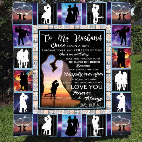 Anniversary Couple Romantic Blankets - Wife to Husband - Anniversary Valentines Day Christmas Lovers Girlfriend Boyfriend-Moon & Back-Small (30x40)-Moon & Back