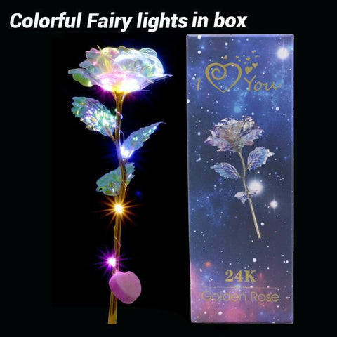 Artificial Galaxy Rose Flowers-Moon & Back-colorful led in box-Moon & Back
