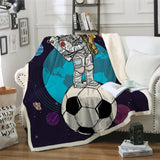 "Astronaut Soccer Ball Cozy Throw Blanket-Moon & Back-29.5""x 39.4""-Moon & Back"