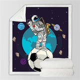 "Astronaut Soccer Ball Cozy Throw Blanket-Moon & Back-51""x 59""-Moon & Back"
