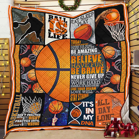 Basketball Quilt Blanket, Basketball Gifts, Sport Motivation Gifts, NBA Gifts-Moon & Back