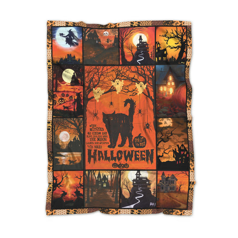 Black Cat And the Witch Halloween Blanket, Halloween Gift-Moon & Back