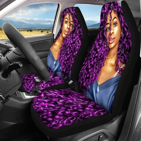 Black Girl Print Car Seat Cover, Afro African, American Lady, Auto Supplies, Luxury Car, Protector Case-Moon & Back