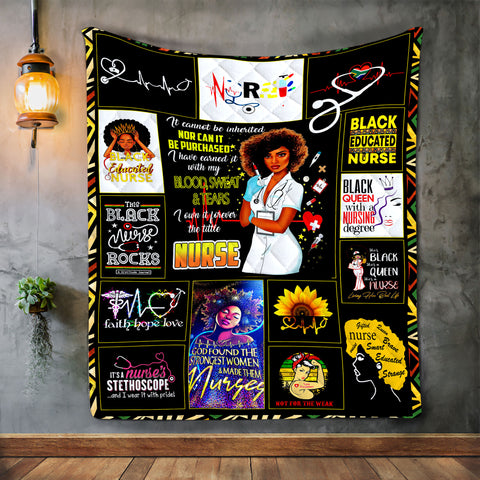 Black Nurse Blanket, Gift For Black Nurse, Black Lives Matter-Moon & Back