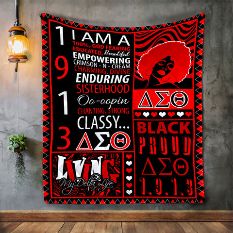 Black Proud 1913 Delta Sigma Theta Sorority Girl Blanket-Moon & Back