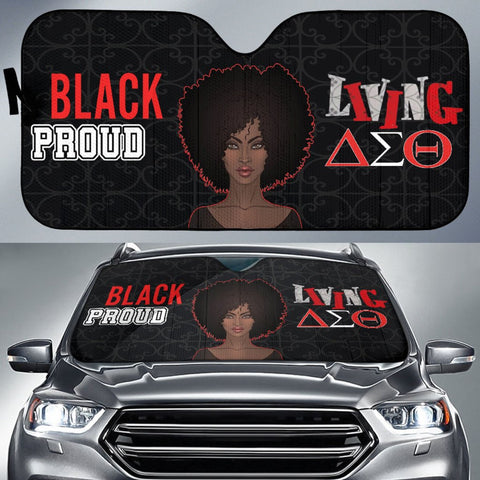 Black Proud Delta Sigma Theta Auto Sun Shade-Moon & Back