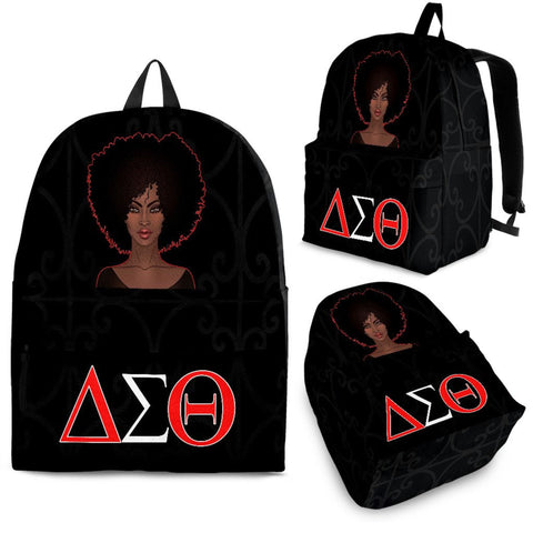 Black Proud Delta Sigma Theta Backpack, Black Awareness-Moon & Back
