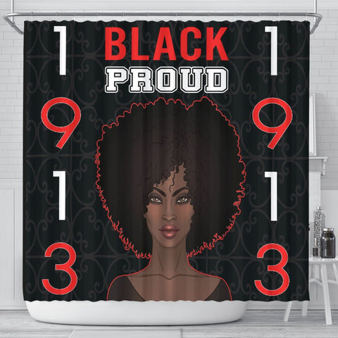 Black Proud Delta Sigma Theta Shower Curtain-Moon & Back