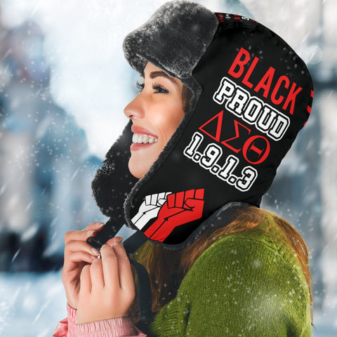 Black Proud Delta Trapper Hat, Black Lives Matter Hats-Moon & Back