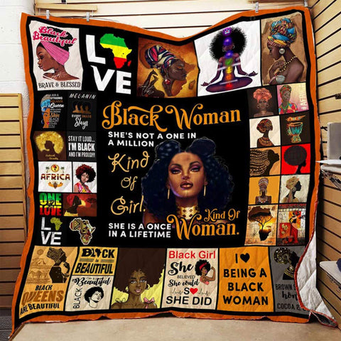 Black Woman Quilt Blanket, Black Lives Matter, African Women, African Gifts, Gifts for Black Women, Black Identity, Black Lives Matter-Moon & Back