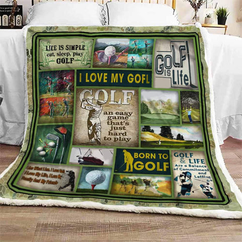 Born To Golf - Golf Lovers Blanket Gift - Birthday- Coworkers - Son - Sport - DG8053-Moon & Back