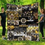 Boston Bruins Warm Quilt Blanket-Moon & Back-51.1x59 Inches-HKY2-Moon & Back