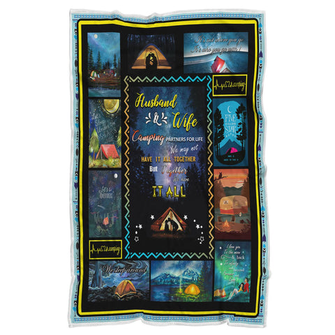 Camping Blanket, Husband and Wife Blanket, Camping Gifts, Anniversary Gifts - VK1013-Moon & Back