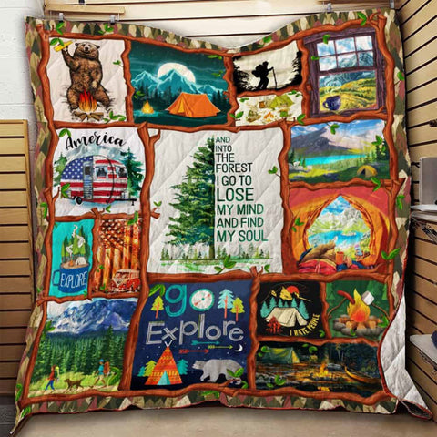 Camping Outdoor Lovers Blanket, Camping Gifts, Nature Blanket, Hippie Blanket, Forest Blanket- Outdoor Quilt-Moon & Back