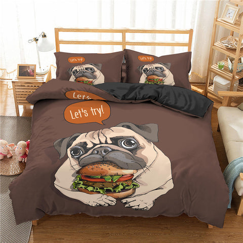 Cartoon Pug Dog 3Pcs Bedding Set, Dog Lovers Gift-Moon & Back
