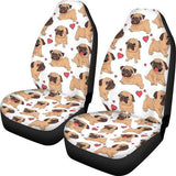 Cat Dog, Cute Car Seat Covers for Girls, Animal, Women Front Seat Protector, Automobiles Seat Covers-Moon & Back