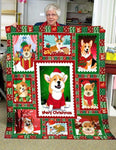 Christmas Blanket, Corgi Blanket, Merry Christmas Blanket, Corgi Gifts, Corgi Quilt-Moon & Back