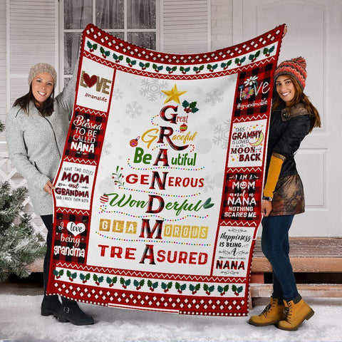 Christmas Blanket Gifts for Nana, Grandmother,Grandma Special Gifts-Moon & Back