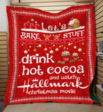 Christmas Blanket, Hallmark Christmas Movies Blanket, Movie Watching Blanket, Drink Hot Cocoa, Red-Moon & Back