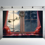 Christmas Photography Backdrop Banner-Moon & Back-59x59inch(150x150cm)-Vinyl-Moon & Back