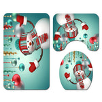 Christmas Shower Curtain Toilet Cover & Mat Set- Snowman-Moon & Back-3PCS-Moon & Back