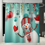 Christmas Shower Curtain Toilet Cover & Mat Set- Snowman-Moon & Back-Shower Curtain-Moon & Back