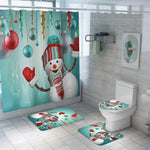 Christmas Shower Curtain Toilet Cover & Mat Set- Snowman-Moon & Back-4PCS-Moon & Back