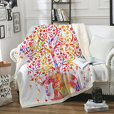Colorful Elephant and Tree Cozy Throw Blanket-Moon & Back-Flannel 75cmx100cm-Moon & Back