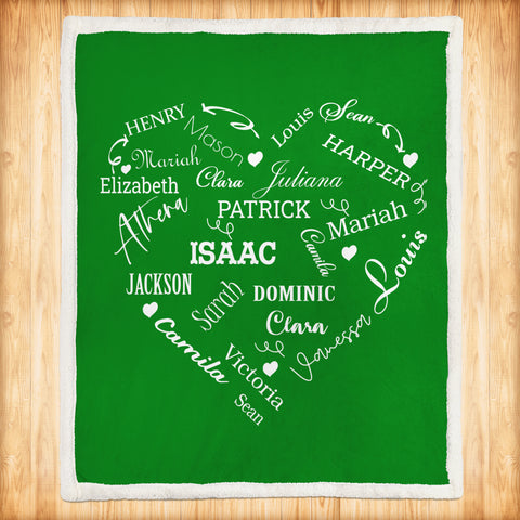 Copy of Personalized Family Names Heart Pattern Green-White Christmas Blanket-Moon & Back